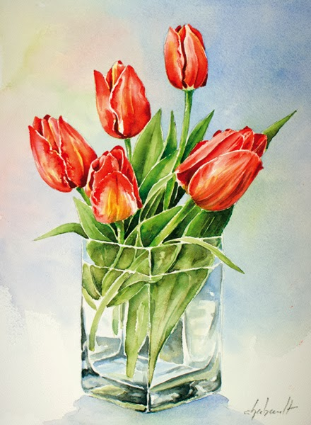 Denis chabault les carnets aquarelle bouquet de tulipes for Bouquet de tulipes