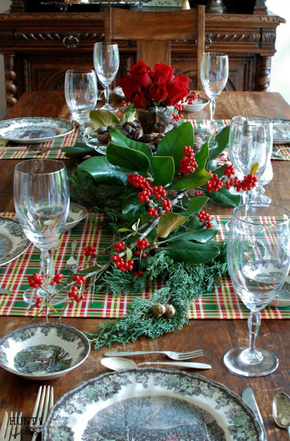 Hunt & Host-Christmas Table Setting-Sinning Room-Transferware-Friendly Village-Treasure Hunt Thursday- From My Front Porch To Yours