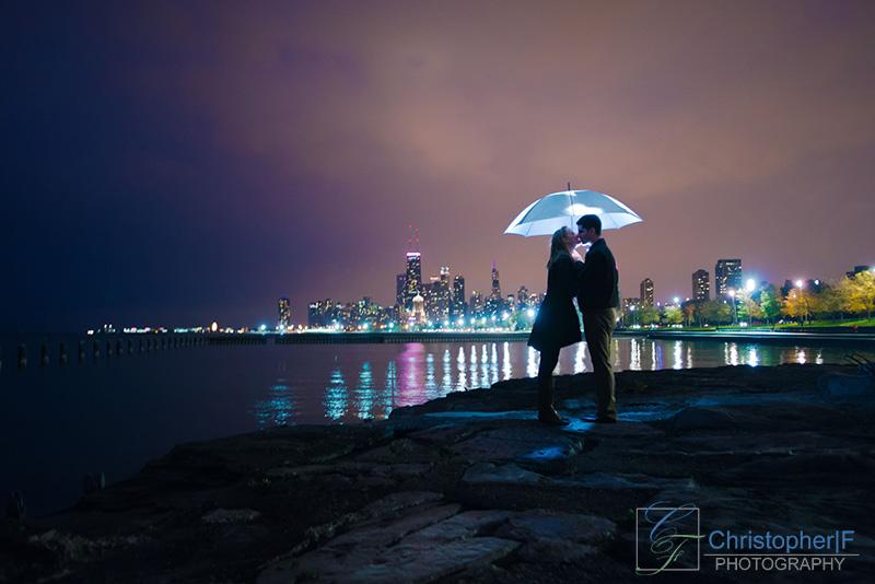 Chicago Rain Engagement Photo