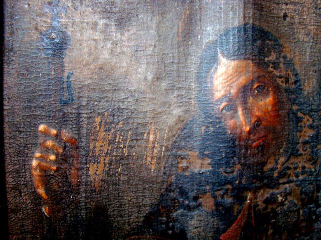 Obraz św. Rocha na skórze, XVIII wiek, Radoszyce - środkowy fragment obrazu. Fot. Tadeusz Czarnecki.