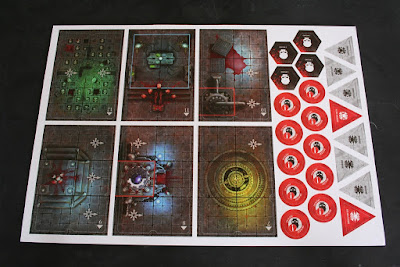 Matriz 1 con habitaciones y marcadores de la caja de Assassinorum: Execution Force