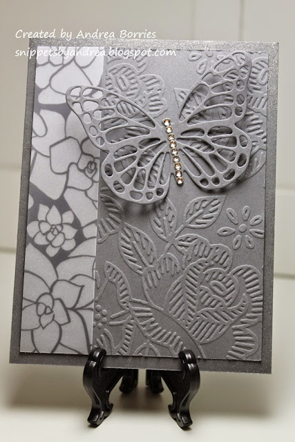 Monochromatic gray card made with printed vellum, embossed card stock, and die-cut butterfly.