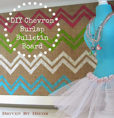Diy chevron burlap bulletin board driven by decor for Diy bulletin board for bedroom