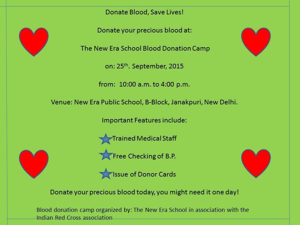 Report writing service blood donation camp held in your school