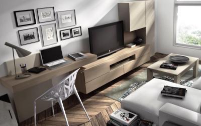 Informaci n de mobiliario muebles de television formas y - Integrar escritorio en salon ...