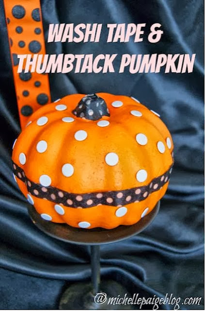 Washi Tape and Thumbtack Pumpkin