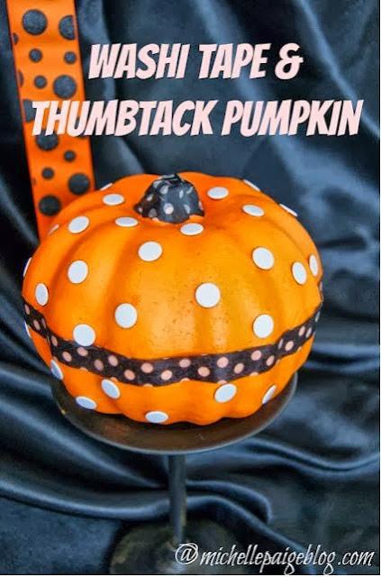 Washi Tape and Thumbtack Pumpkin