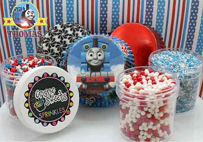 Childrens Birthday Festivity Thomas the tank engine cake baking cupcake toppers and sprinkles set