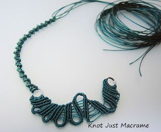 Start of a freeform necklace in teal by Knot Just Macrame