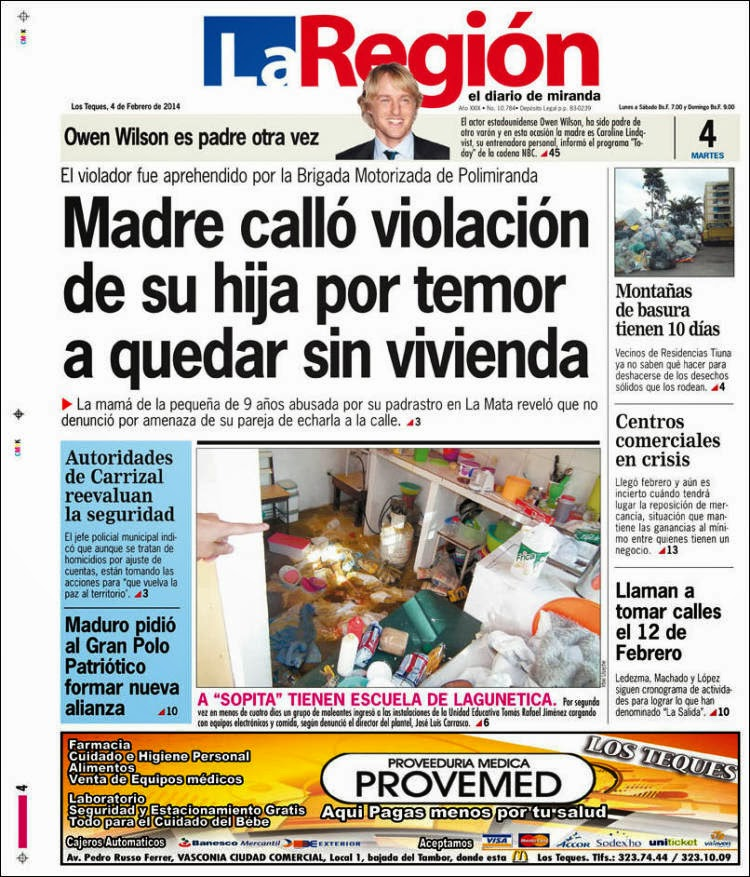 Primera Plana de este martes 4 de febrero de 2014: prensa regional
