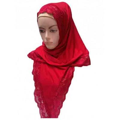 jilbab segitiga kaos renda
