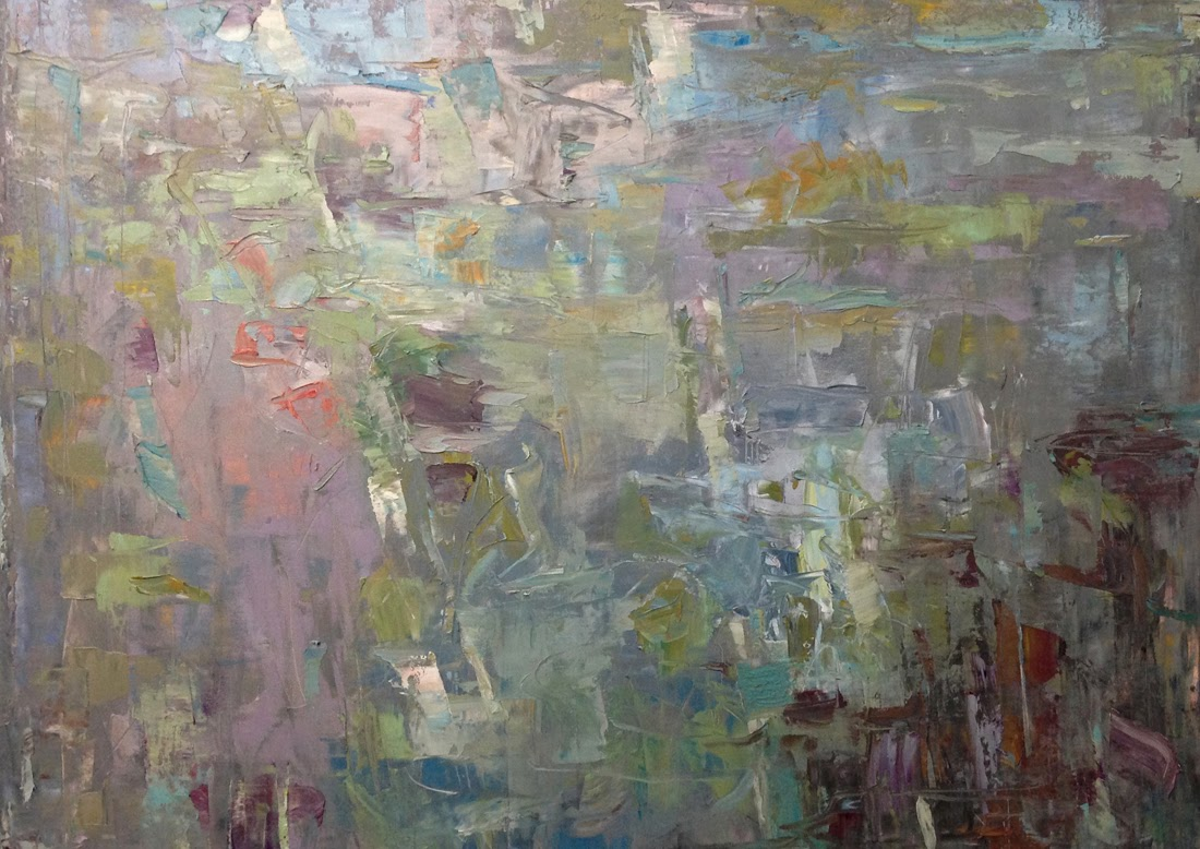 Abstract painting by Karri Allrich, titled Current. 30 x 40 inches oil on canvas.