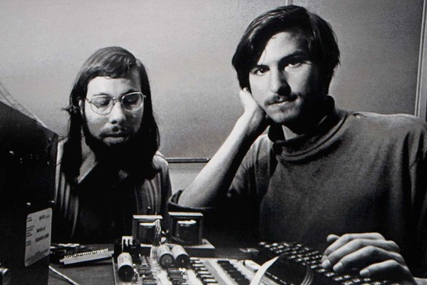 Steve Jobs with Apple co-founder Steve Wozniak (left) in the 1970