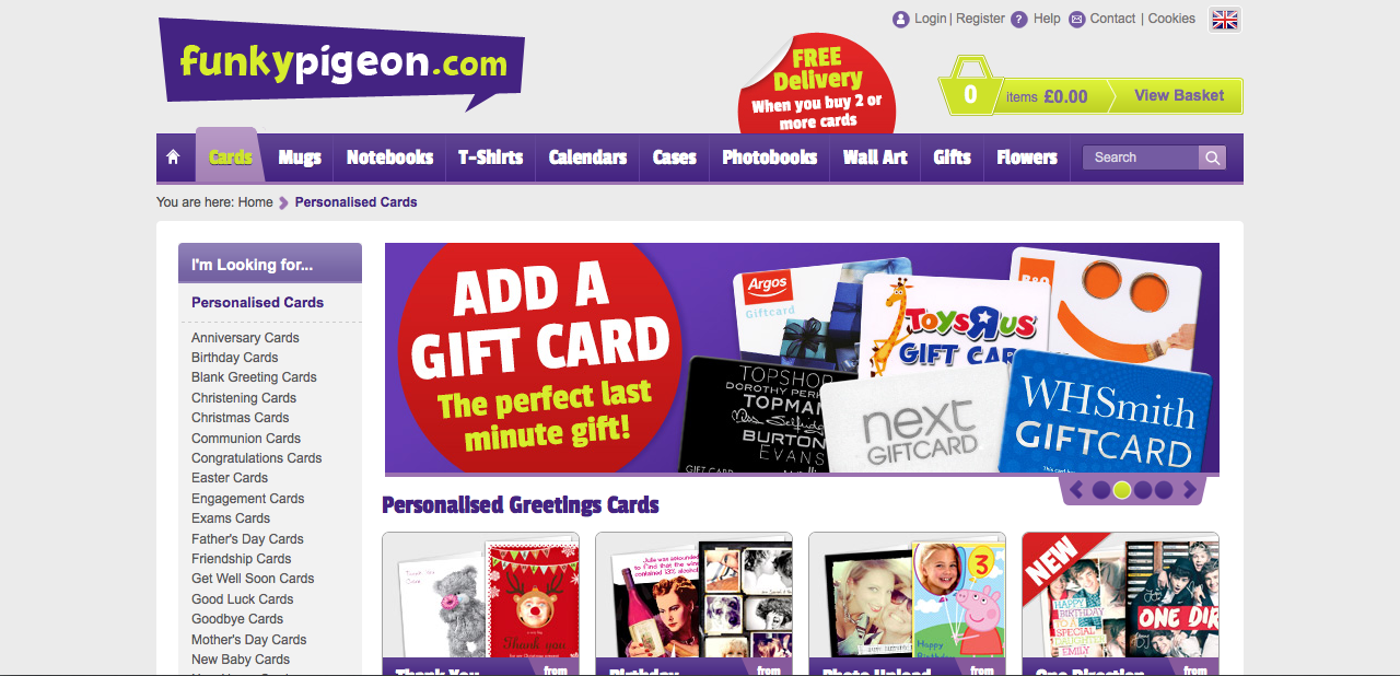 Design context greeting card websites funky pigeon is a massively successful company known for the distribution of creative and humorous cards for family and friends i think this website is m4hsunfo