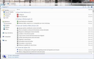 Preview - God Mode no Windows 7