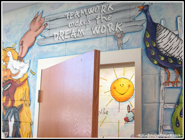 photo of: Kindergarten Painted Wall Mural: Teamwork Makes the Dream Work
