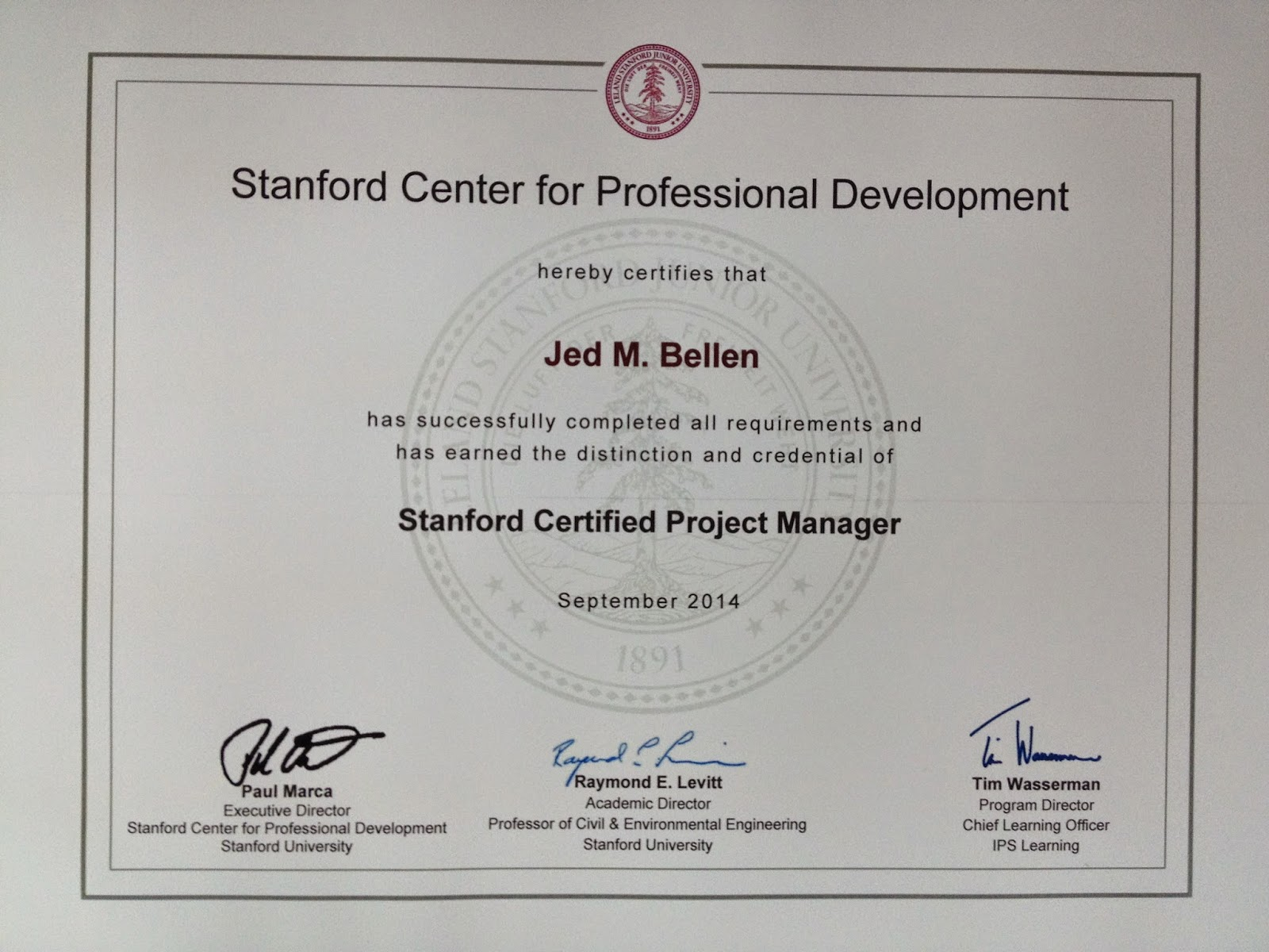 a walk to zen taking the stanford advanced project management course after completing the course you will receive a certificate bearing the stanford university seal as below