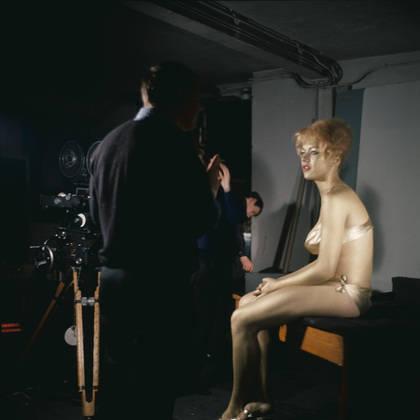 """Behind-the-scenes: JAMES BOND """"GOLDENEYE"""" title sequence. photographs by Herbert Spencer document artistic director Robet Brownjohn's preparatory studies.  Golden painted girl, the beautiful Margaret Nolan, on exibit at the MoMA. quintessential 1960's design."""