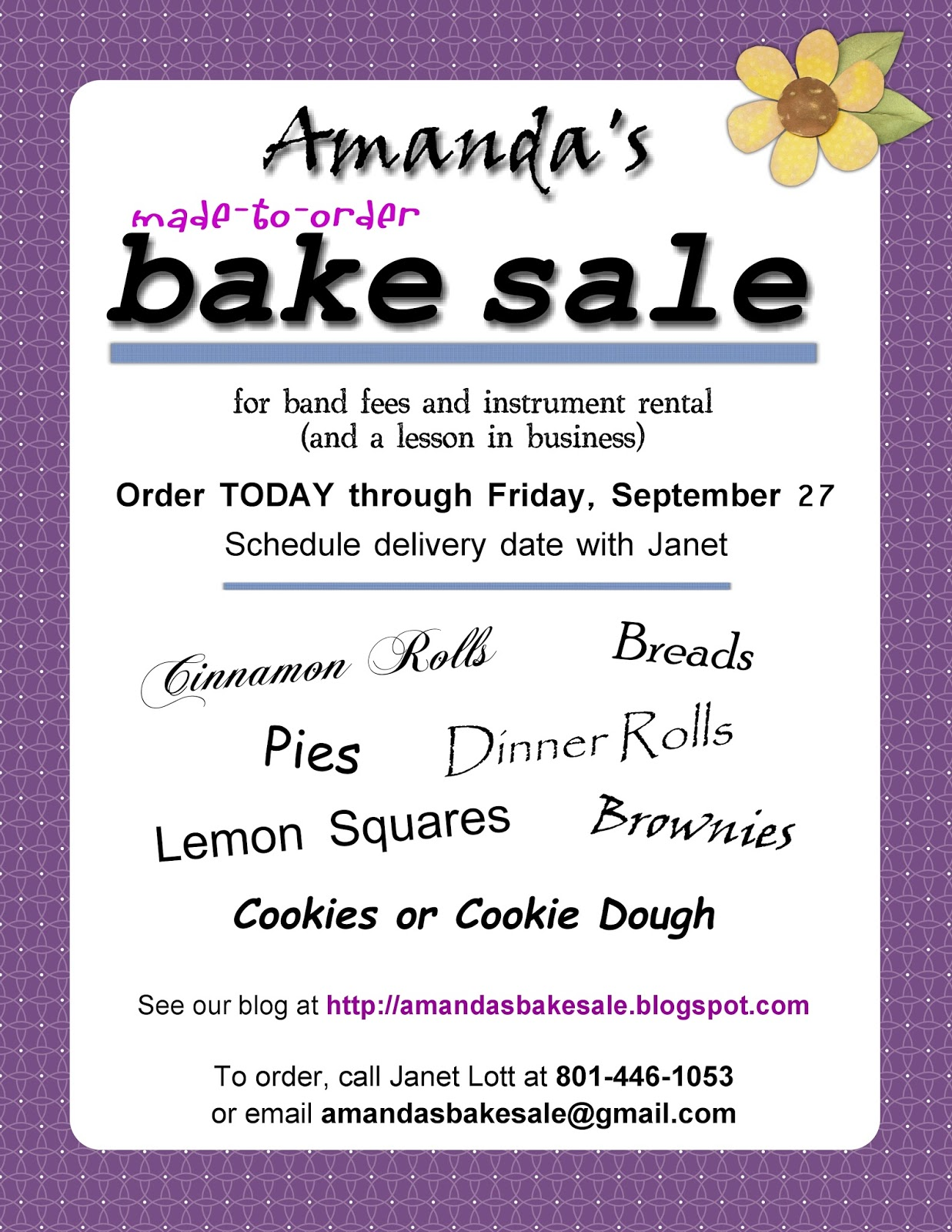 prices for bake sale