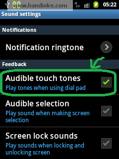 Audible Touch Tones (Checked)