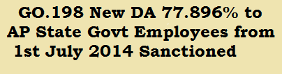 GO.198 New DA 77.896 to AP State Govt Employees from 1st July 2014 Sanctioned