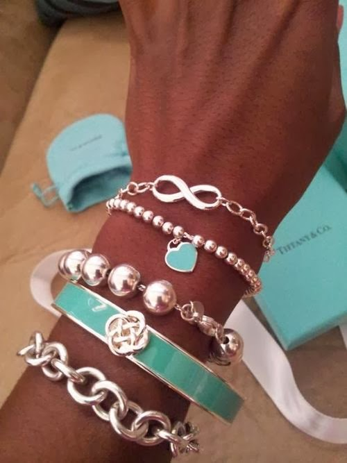 Cute, Lovely, Silver and Blue Colored, Different Shaped Bracelets