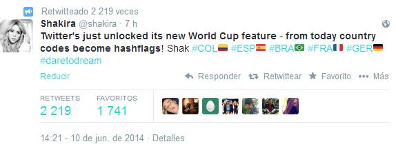 tweet shakira mundial de fútbol 2014 banderas