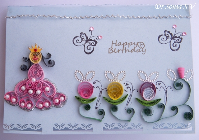 Cards Crafts Kids Projects Quilled Princess Card And Simple Pop