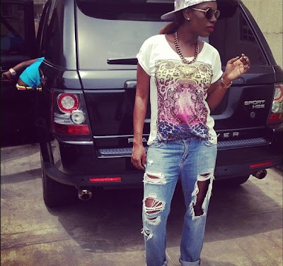 Annie Idibia rocks 'Ripped Jeans'