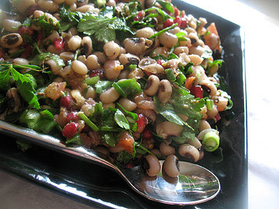 Turkish Black-Eyed Pea Salad with Pomegranate, Walnuts with Zahtar Dressing