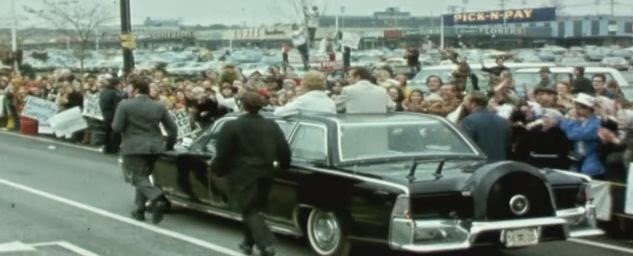 President Nixon using JFK's refurbished limo