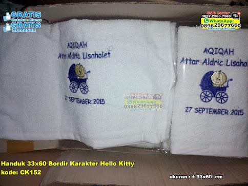 Handuk 33x60 Bordir Karakter Hello Kitty murah