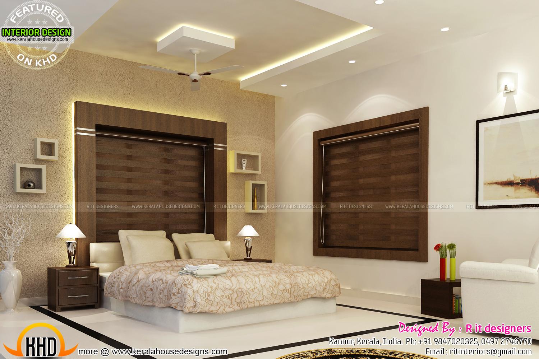 Bifurcated stair bedroom kitchen interiors kerala home - Masters in interior design online ...