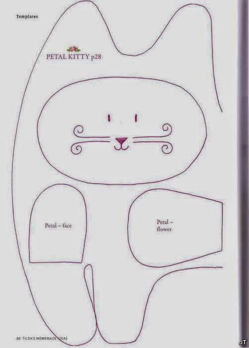 Moldes gatinho de tecido