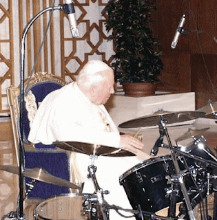 Funny picture Vatican Pope loves rock and roll