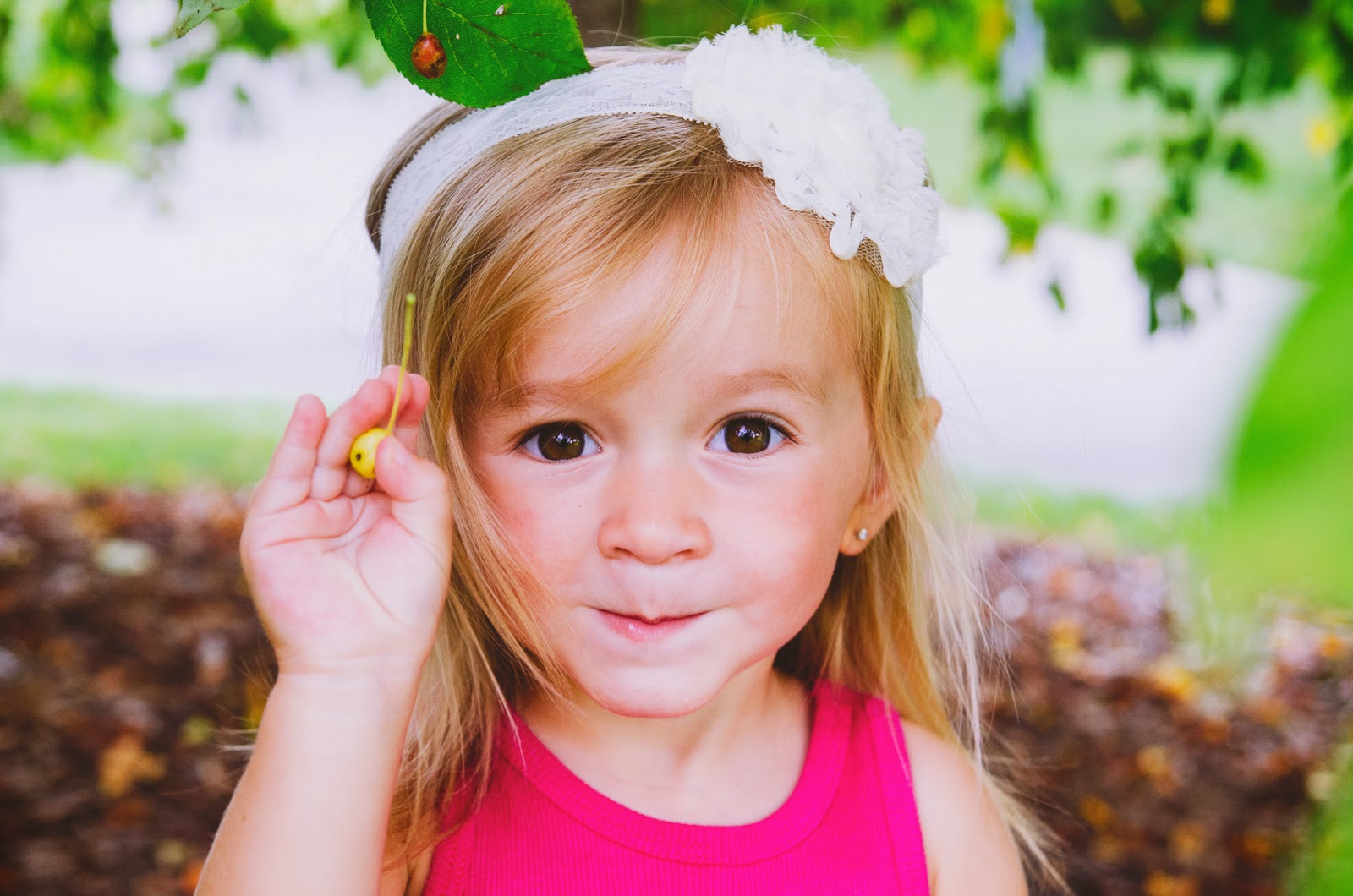 stylish toddler in lace headband at boho family session indianapolis