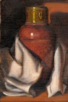 Oil painting of an Art Deco copper vase nestled amongst a white tea towel.