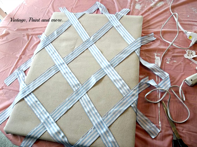 Vintage, Paint and more... drop cloth fabric bulletin board, ribbon decorated bulletin board,