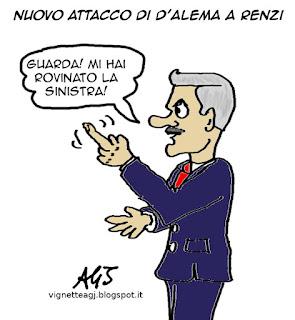 Renzi, D'Alema, Sinistra, vignetta satira
