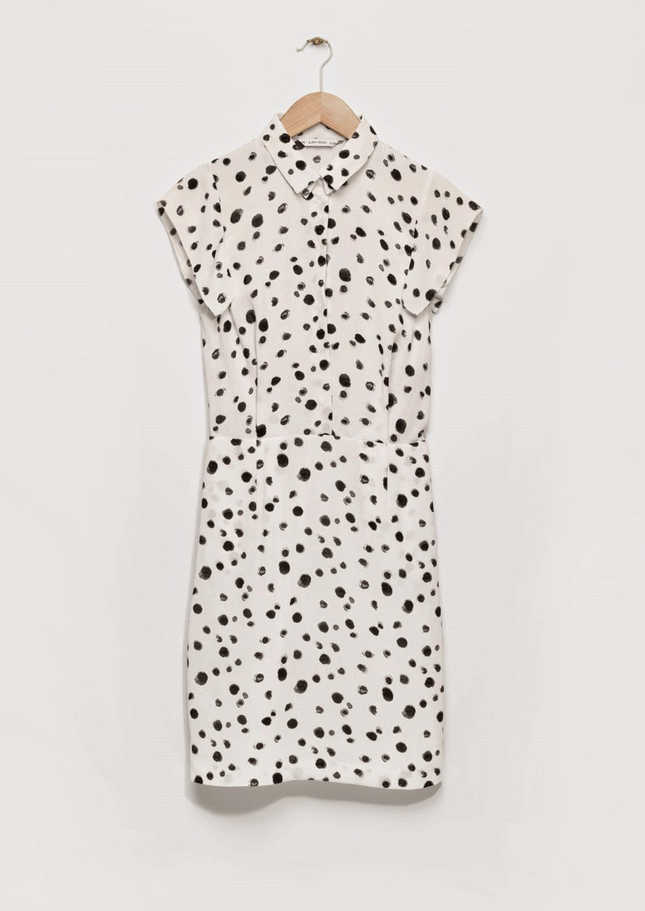 white shirt dress, dalmatian spot dress,