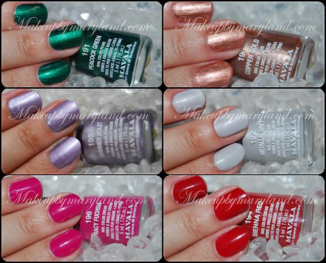 Mavala-arabesque-coleccion-pintauñas-esmaltes-baratos-low-cost-194-sienna-red-193-coppe-gold-191-peacock-green-196-racy-fuchsia-192-metallic-grey-195-shimmer-violet-verde-bronce-malva-gris-rojo-rosa-swatches-aplicados-larga-duracion-perfumerias-IF-el-corte-ingles-metalicos-metalizados-perlados