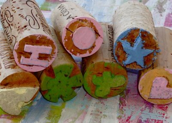 Home-made cork stamps