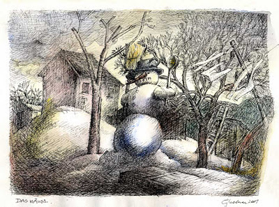title: snowman, technique: coloured pen drawing, drawing, artist: wolfgang glechner, year: 2001