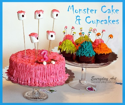 http://www.our-everyday-art.com/2013/03/monster-birthday-cake-and-cupcakes.html