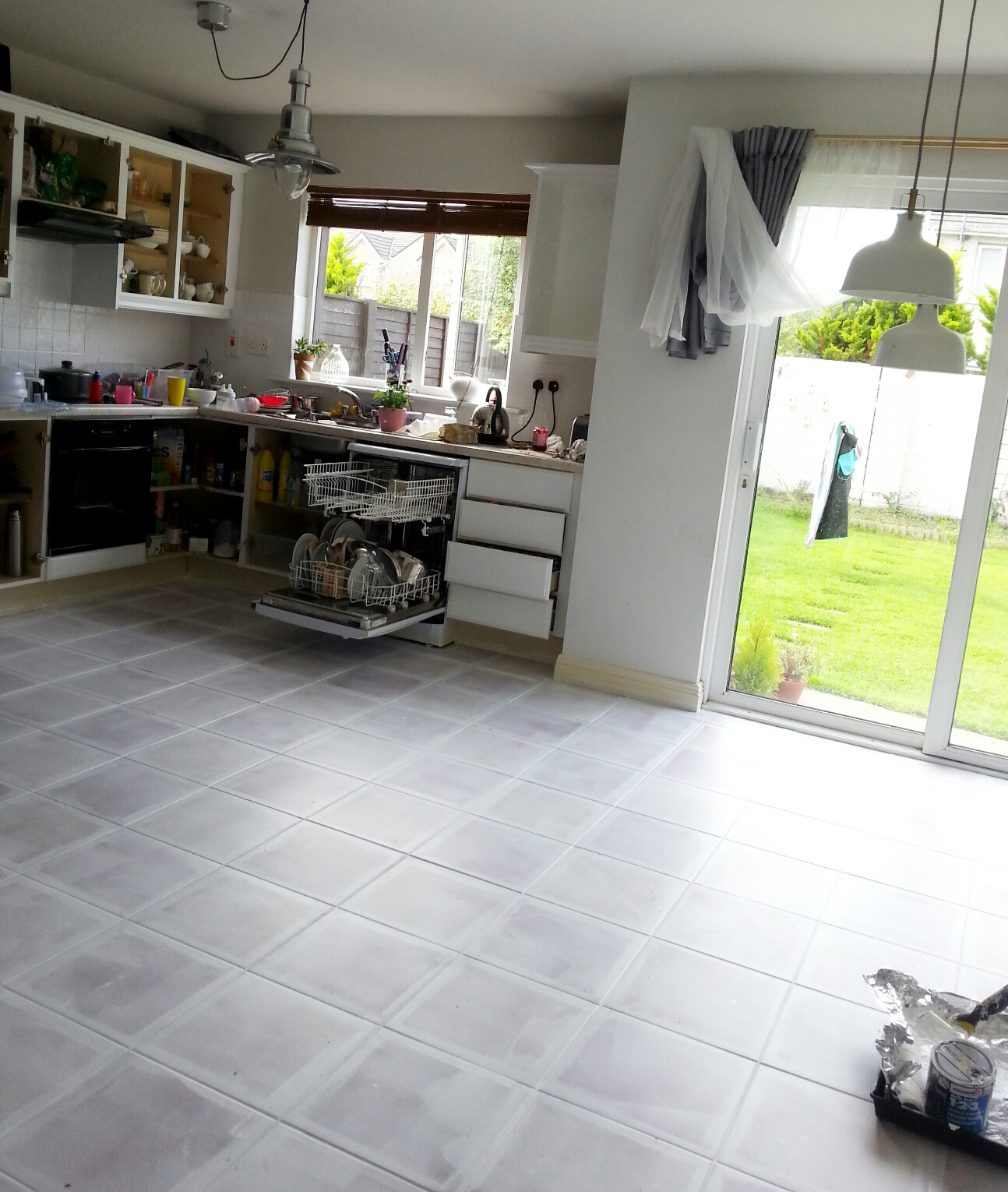 Gray tile kitchen floor