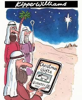 shepherd buying Christmas gifts on ipad