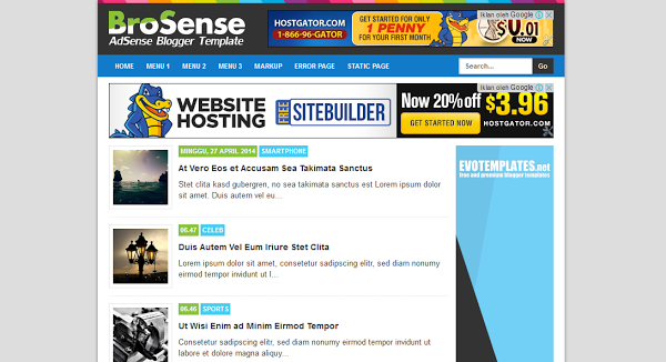 Brosense Responsive Simple Blogger Template