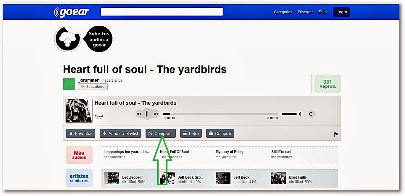 direcciones web de canciones: