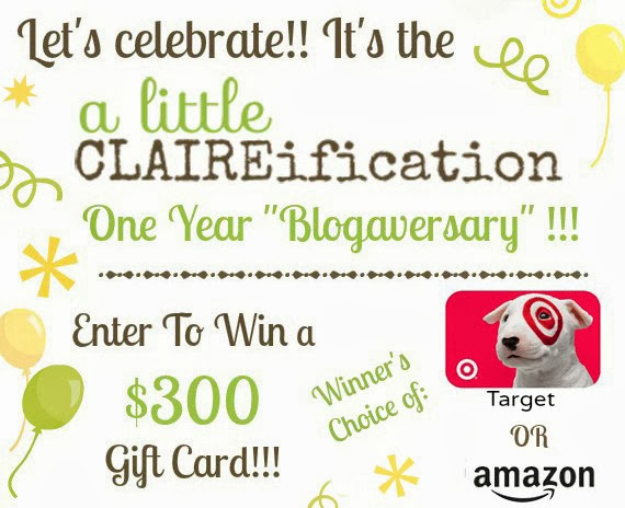 Win a $300 Gift card from Amazon or Target in A Little Claireification First Blogiversary Giveaway!