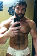 Muscular Male Bodybuilders Hunks with Furry Pecs